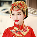 Chinese Traditional Bridal Headdress Classic Tassels Hairpin Women Girl Red Beads Flowers Fashion Headband Wedding Party Jewelry