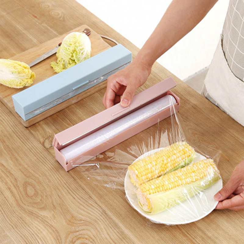 2019 New Plastic Kitchen Foil And Cling Film Wrap Dispenser Cutter Storage Preservative Film Roll Case With Cutting Blade Sale