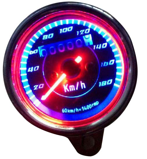 Universal Double Color LED Light Odometer Speedometer Km/h For Motorcycle Stainless Steel General Mechanical