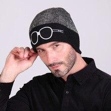 2016 Brand Beanies Winter Acrylic Knit Hat Cartoon Embroidered Glasses Winter Hats Men Women Skullies Bonnet Warm Ski Gorro