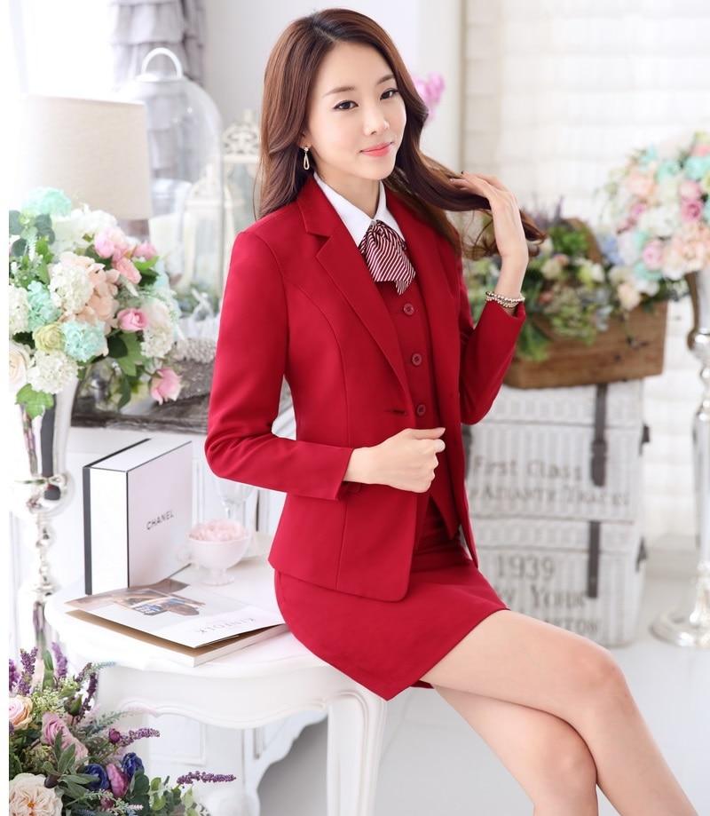 Plus Size 4XL Autumn Winter Professional Business Suits 3 pieces Jackets + Skirt + Vest Ladies Formal Blazers Outfits Sets