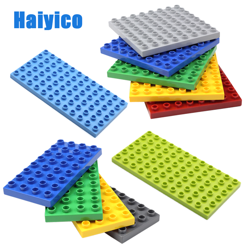 Classic Basics 4*8 8*8 6*12 Sets 32 64 dots Big Building Blocks Accessories <font><b>Baseplate</b></font> Compatible with Duplo Bricks Baby DIY Toys image