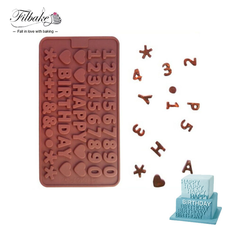 FILBAKE Bakeware DIY Cake Tools Happy Brithday Letters Numbers Symbols Heart Shape Mold for Ice Chocolate Decorating Silicone ...