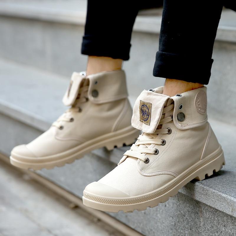 Мен'с хигх-топ платнене чизме модне - Мушке ципеле