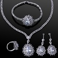 Higher Quality AAA Cubic Zirconia flower Wedding jewelry Sets Cadmium Free Necklace/Earring/Bracelet/ring Set