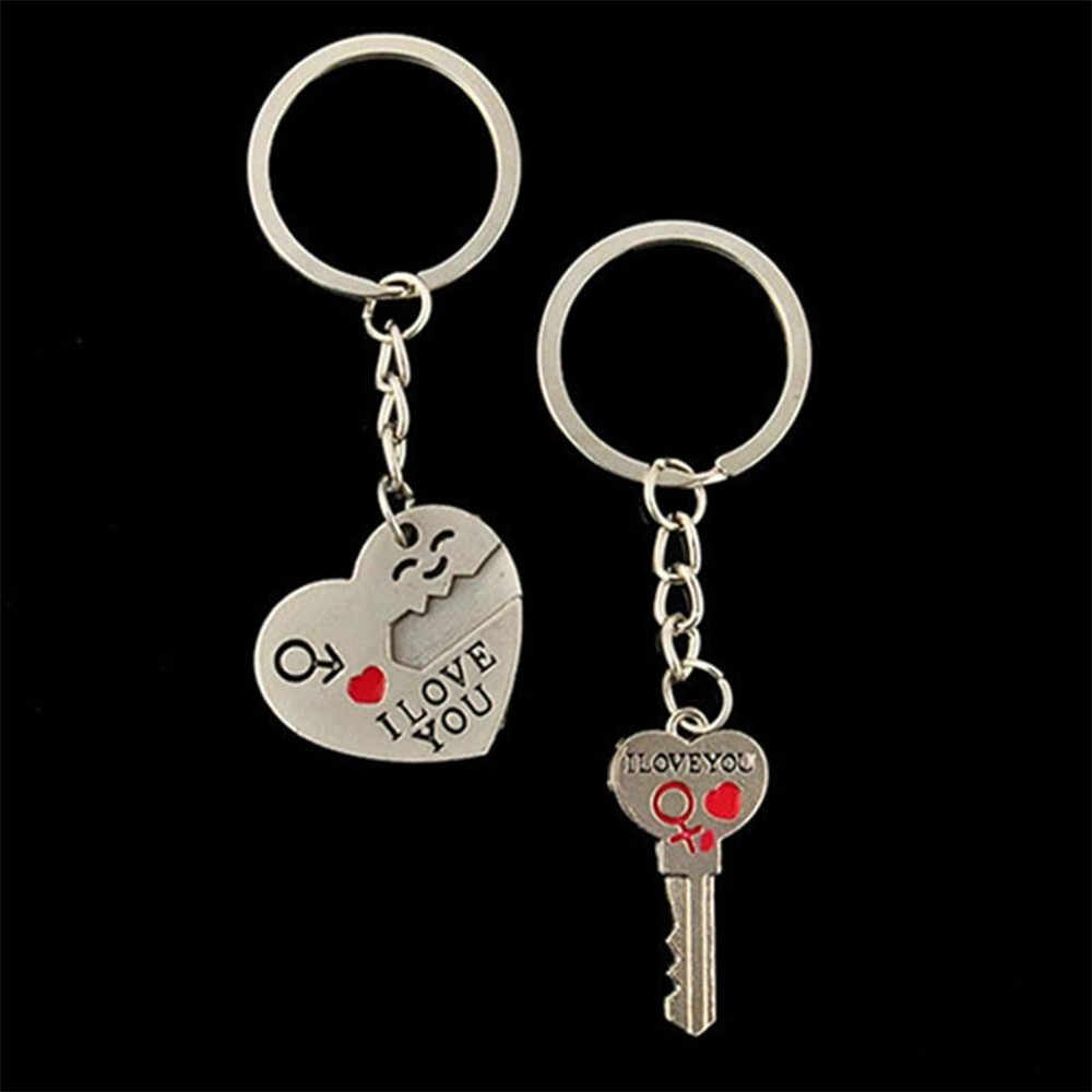 Fashion Heart Key Ring Romantic Couple Keychain Valentine's Day Lover Gift Heart Key Set Lovers Couple Gift Keychain