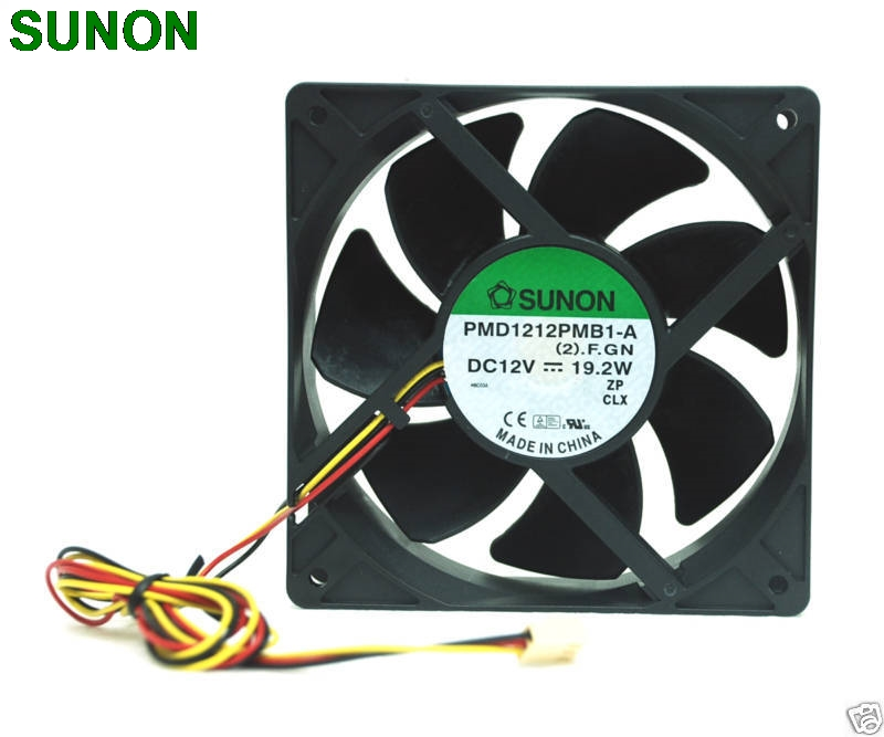 Sunon DC Fan PMD1212PMB1  12CM 1238 12038 120*120*38MM 12x12x3.8cm 12V 19.2W Cooling fan delta afb1212hhe 12038 12cm 120 120 38mm 4 line pwm intelligent temperature control 12v 0 7a