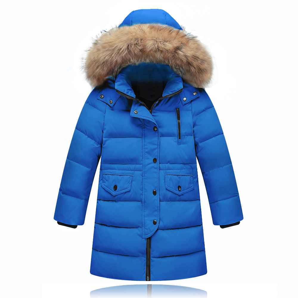 New 2017 Winter Boy Down Jacket Thick Warm Boys Downs Coat Kids Down Jacket For Boys Hooded Collar Children Outerwear Coat 3-14Y