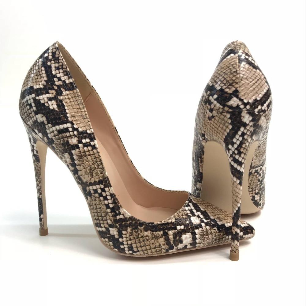 Delgado 12 Mujeres 8cm Tacón zapatos De Y Serpiente Zapatos Superficial  mouthed Piel de Americano Cm ... f80855b68574