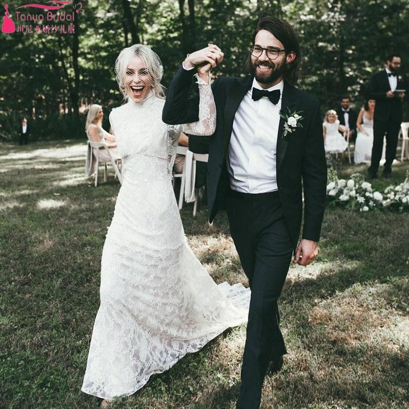 ファッション社外結婚式ドレスハイネック拡張スリーブフルオープンバックでアメージング春夏ビーチレースのウェディングドレス ZW087  グループ上の ウェディング & イベント からの ウェディングドレス の中 2