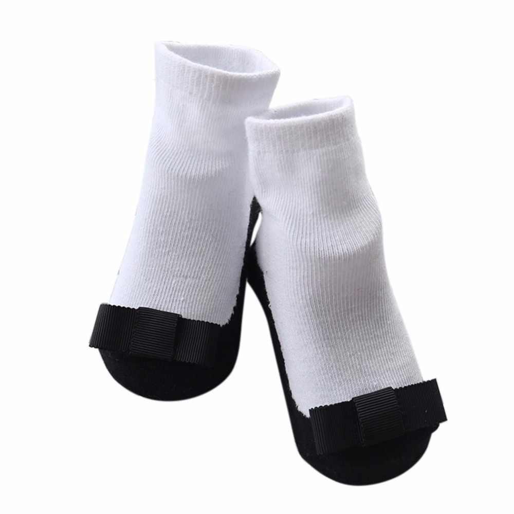 1-3 años bebé Niña Zapatos de cuero negro de la cinta arco principal antideslizante botas tobillo Calcetines