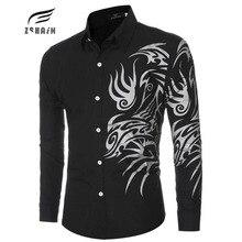 New Brand Dress Men Shirt Long Sleeve Cotton Male Business Casual Printed Fashion Formal Shirts Slim Masculina Camisa AIGUKENT