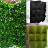 WOFO 9 Pocket Outdoor Wall Hanging Planter Vertical Felt Garden Plant Flower Grow Container Bags Home