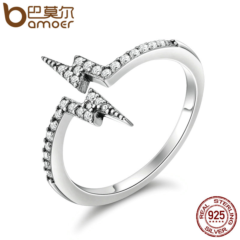BAMOER 100% 925 Sterling Silver Unique Style Lightning Rings for Women, Dazzling CZ Sterling Silver Jewelry Gift Anel SCR141