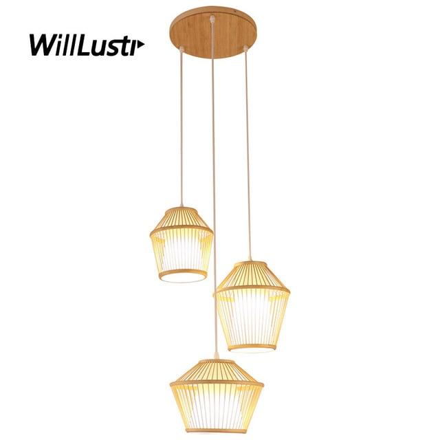 de a colgante La mejor compra tejida lámpara Luz bambú mano lFTcu5K1J3