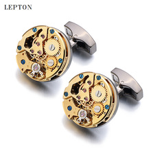 Hot Watch Movement Cufflinks for immovable Stainless Steel Steampunk Gear Watch Mechanism Cuff links for Mens