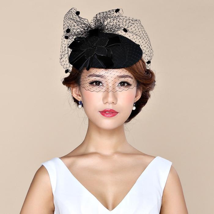 2016 Paris Style Black Veil Wool Party Fedora Women Winter Winter Lady Pure Wool Flower Top Fedora Hat Hair Clp Headdress