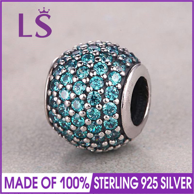 LS High Quality Real 100% 925 Silver Teal Pave Ball Charm Beads Fit Original Bracelets Pulseira Encantos.100% Fine Jewlery W