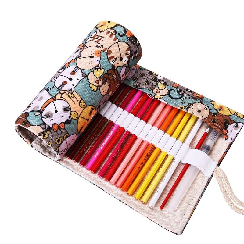 все цены на Cute Cartoon Cat School Pencil Case Canvas Penalty 36/48/72 Holes Roll Pencilcase Large Pen Pencil Bag Estuche Escolar Supplies
