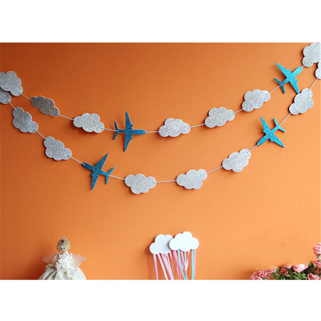 Clouds and Airplanes Garland Party Decoration Blue Baby Showers Kids Birthday Event Supplies Happy Hanging Background Banners
