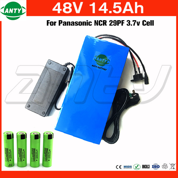 Battery 48v 14.5Ah 1000w For Panasonic Cell Lithium Battery 48v with 2A Charger Built in 30A BMS eBike Battery 48v Free Shipping us eu free customs duty lithium 48v 1000w e bike battery 48v 17ah for original panasonic 18650 cell with 5a charger 30a bms