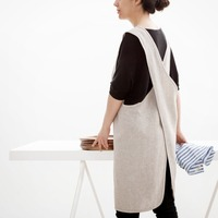 one piece cross 100% flax Linen Apron for woman kitchen Coffee shops and flower shops work esaapron1