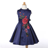 Retail New Stylish Kids Girl Princess Dress Girl Floral Party Dress 2 Color Flower Pattern Dresses