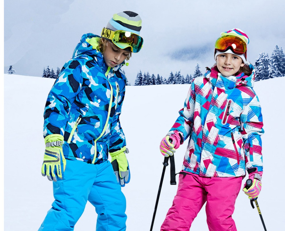 new big brand Boys/Girls Ski Suit Waterproof Windproof Snow Pants+Jacket a Set of Winter Sports Child Thickened Clothes
