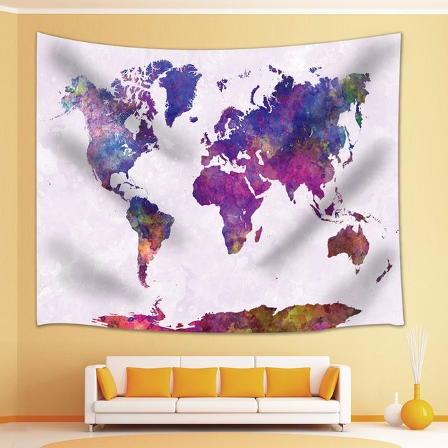 Abstract art splatter painting home decor watercolor world map abstract art splatter painting home decor watercolor world map tapestry wall hanging for bedroom living room gumiabroncs Gallery