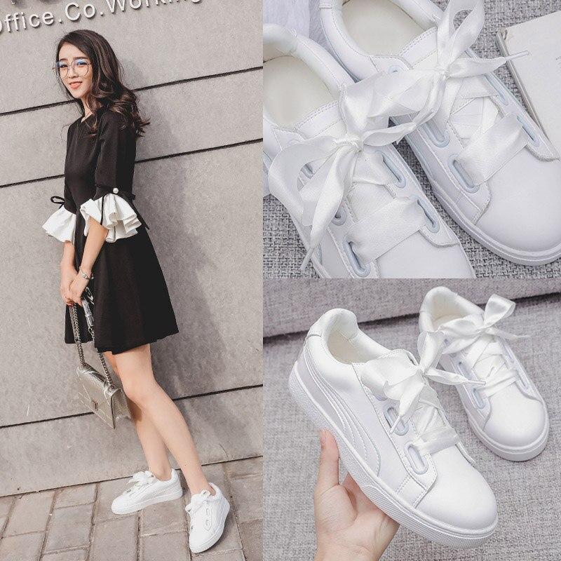 Mode La Fille Soie Bow Nouveau Vulcanisé Chaussures Marque Avec Loisirs Ruban Printemps Femme 35 41 De 2018 Doux Up Blanc Lace vwz7Ew