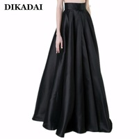 Maxi Long Women Pleated Skirts Black Elegant Party Floor Length Plus Size 3XL 2XL Female