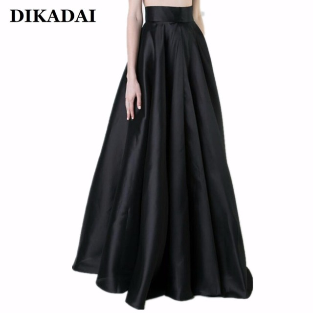 76059f36e1fa2 Maxi long Women Pleated Skirts Black Elegant Party Floor Length Plus Size  5XL 4XL Female Jupe Fashion A line Skirt 116cm