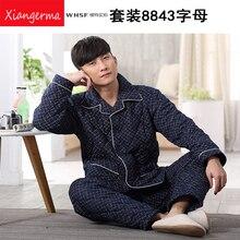 Зима чистого хлопка пижамный комплект мужские пижамы костюмы Повседневная Мужская спать ткань 100% хлопок пижамы с длинным рукавом Бесплатная доставка