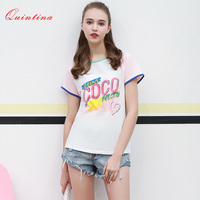 Quintina New Fashion Women Tops Short Sleeve Printed T Shirt Women O Neck Sweet Summer Top