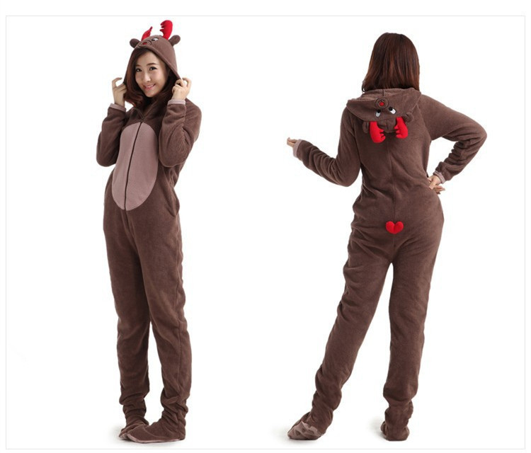 b620a108c214 Christmas Deer Fleece Cotton Adult Unisex Footed Pajamas Sleepsuit ...