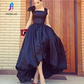 2017 Newest High Low Prom Dresses with Bow Satin Square Collar Sleeveless Pleats Paty Gowns Evening Dress