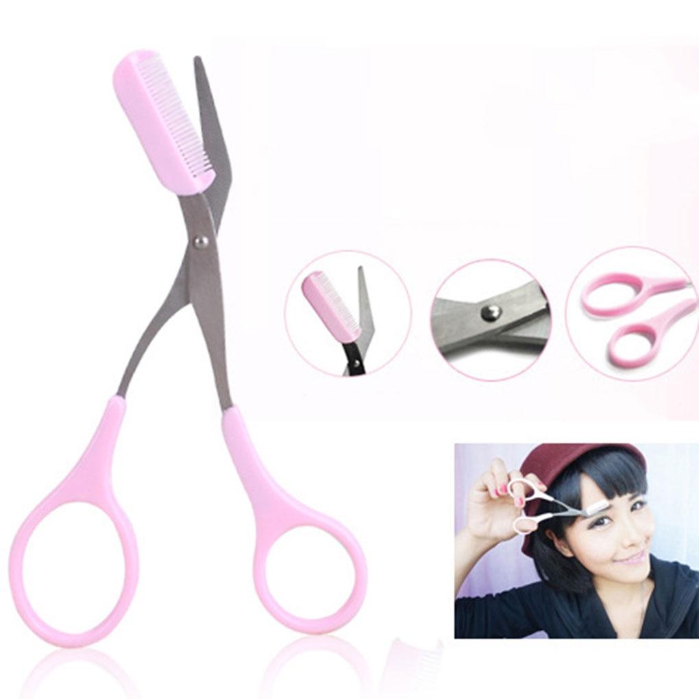 Eyebrow Trimmer Scissors Comb Eyebrow Scissors Comb Women Girl Eyelash Removal Tools