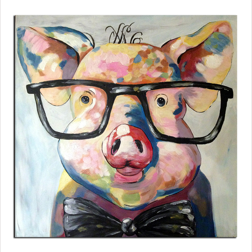 Modern Abstract Cartoon Animal Oil Painting On Canvas Pig Wearing