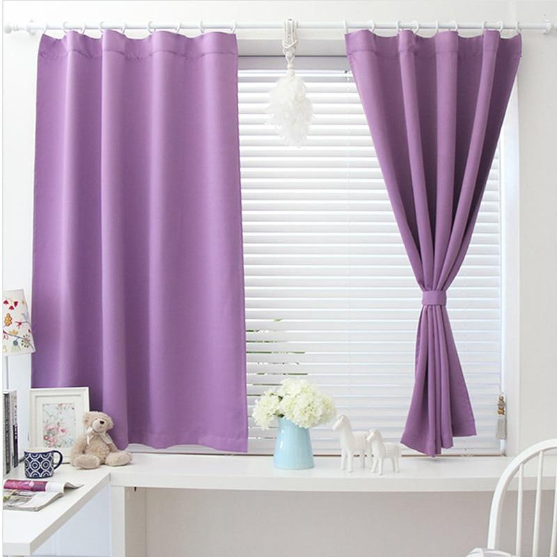 Solid Color Short Blackout Curtains