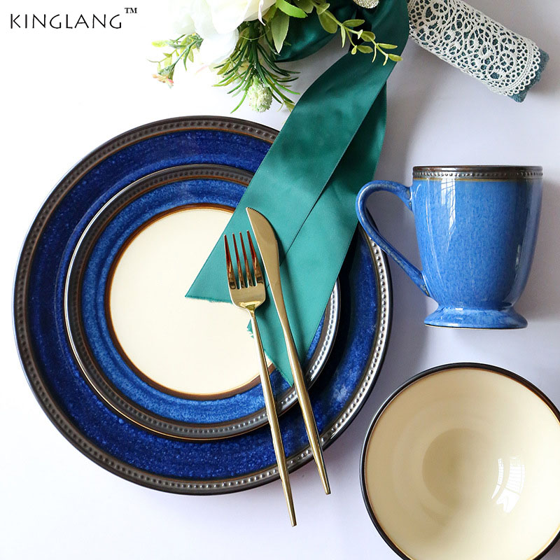 Western Salad Dishes: KINGLANG Vintage Ceramic Cup Bowl Set Western Style Dishes
