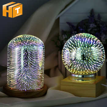 USB Charging 3D Glass Cover LED Night Light Magic Desk Table Lamp 3D Meteor/Fireworks/Star/Love Heart House Party Decor