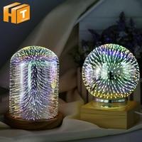 USB Charging 3D Glass Cover LED Night Light Magic Desk Table Lamp 3D Meteor/Fireworks/Star/Love Heart House Party Decor