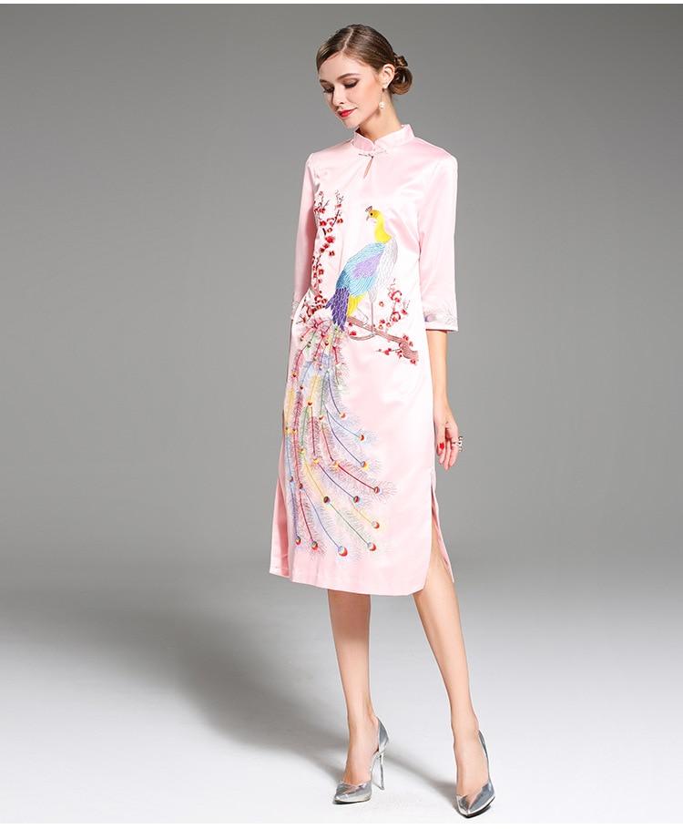 Per Di Stile Pink Size Big Originale Design Versione yellow Phoenix Del Spedizione Cinese Donne Le Ricamato Primavera Fiore Una Gratuita estate w1gavFz