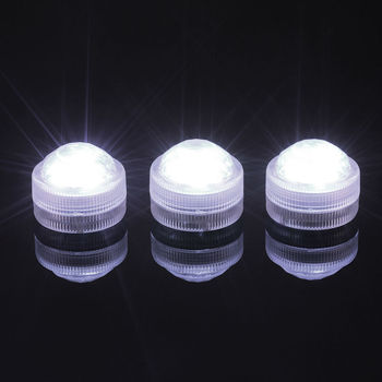 50pcs/lot Diamond Super Bright Submersible Waterproof Mini LED Tea Light Candle Lights For Wedding Party Deocration Vase Light