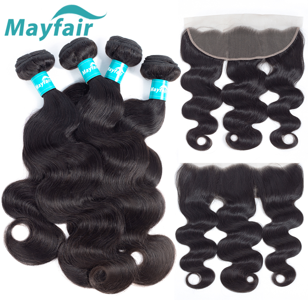 Mayfair Remy Human Hair Bundles With Frontal Peruvian Hair 3/4 Bundles Body Wave With Cl ...
