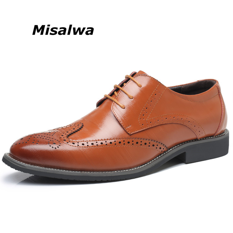 Misalwa Mens Brogue Action Leather Oxfords Casual Dress Shoes Black Brown Blue Navy business Wedding Male Formal Shoes