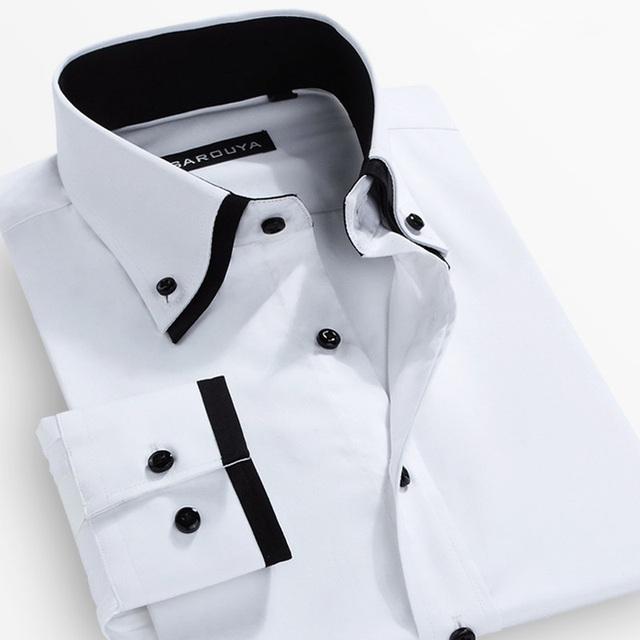 Otoño 2016 de Los Hombres de Doble cuello de Manga Larga Sólido Camisas de Vestir de Algodón Mezcla de Blanco Clásico Botón de ajuste abajo Camisa Formal de Negocios