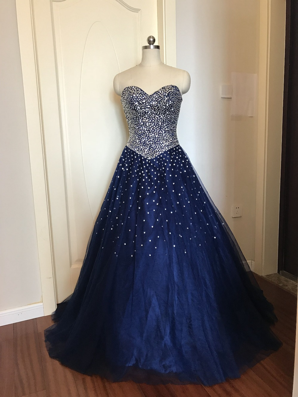 Bleu marine Quinceanera robes Stock robe de bal perlée chérie Abiti Da Quinceanera Vestido Debutante 15 Anos livraison gratuite - 6