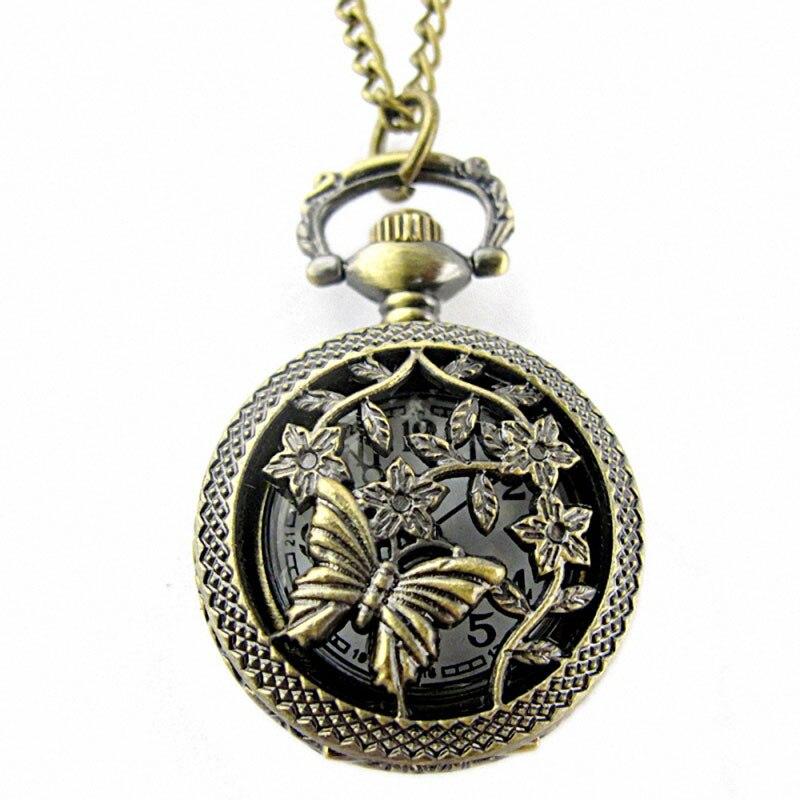Retro Bronze Butterfly Flower Pocket Watch Fashion Openwork Cover Design Chain Link Pendant Quartz Watch Necklace Watches Clock