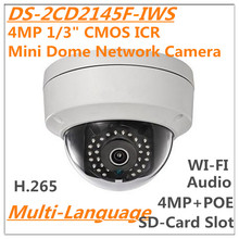 "Multi-idioma ds-2cd2145f-iws 4mp 1/3 ""cmos mini de red domo cctv cámara h.265 ip tarjeta sd micro ranura audio i/o wi-fi poe"